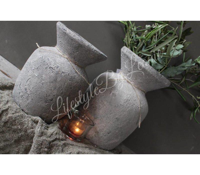 Stenen Nepalese hals kruik Earth 21 cm