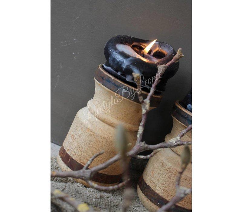 Houten kandelaar met ijzeren randje New wood