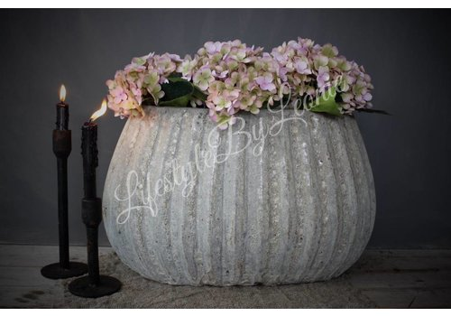 PTMD PTMD grote ovale bloempot Old white grey