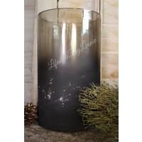 Cilinder windlicht Gusta cracle oud zwart