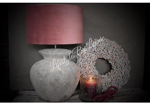 LifestyleByLeonie Cilinder lampenkap Velours pink 35 cm