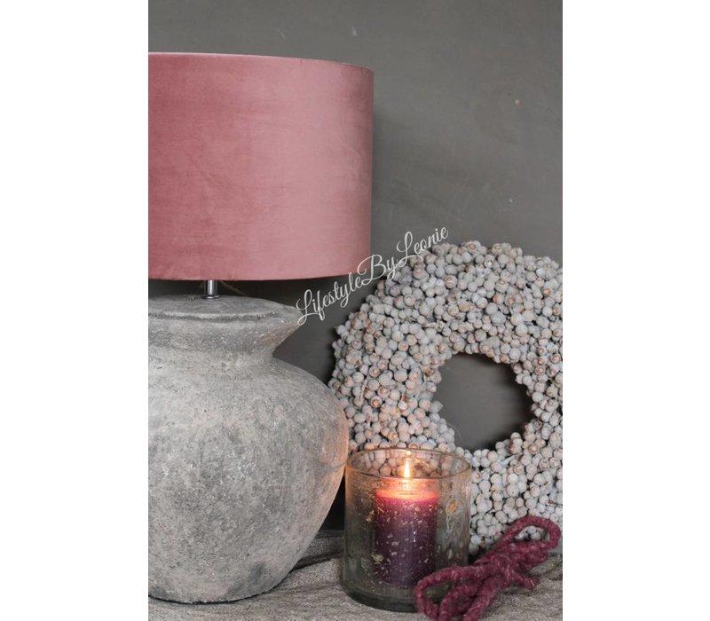 Cilinder lampenkap Velours pink 35 cm