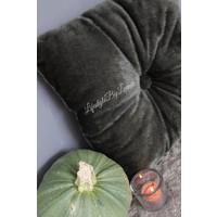 Knoop kussen harig donkergroen 35 x 35 cm