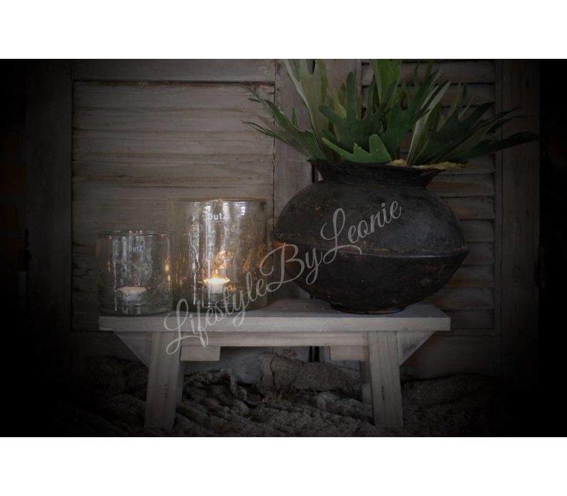 Houten vensterbank krukje Naturel hout 35 cm