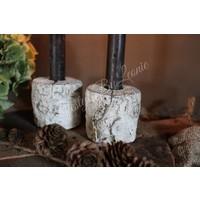 Boomstam kandelaar white dinerkaars 7 cm