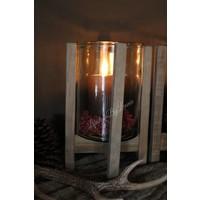 Hoge windlicht glas met houten voet 30 cm