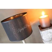 Cilinder lampenkap zwart rosé goud 25 cm