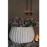 PTMD grote ovale bloempot Old white grey