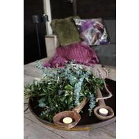 Kussen Feather aubergine groen 45 x 45 cm