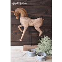 Houten paard ornament op standaard 40 cm
