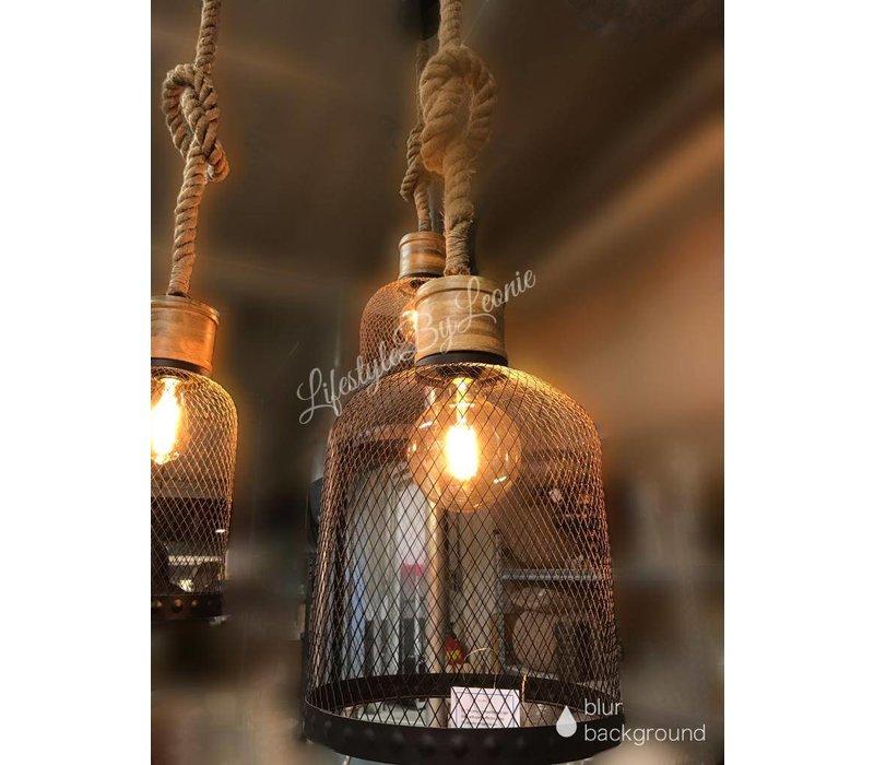 Draadlamp zwart met robuust touw 34 cm