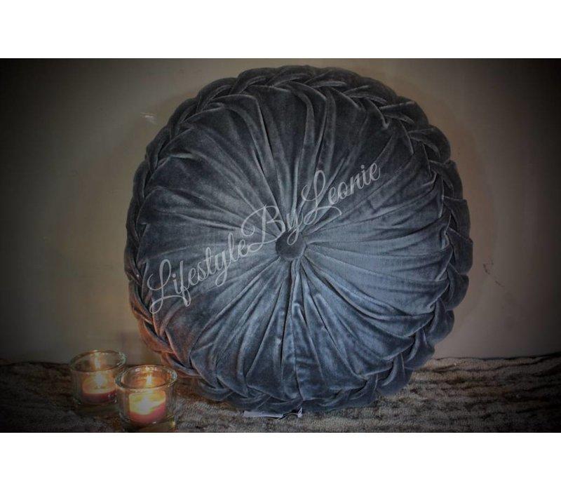 Rond velvet kussen Dark blue 40 cm