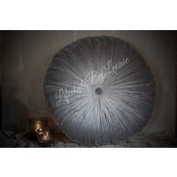 Rond velvet kussen Light grey 60 cm