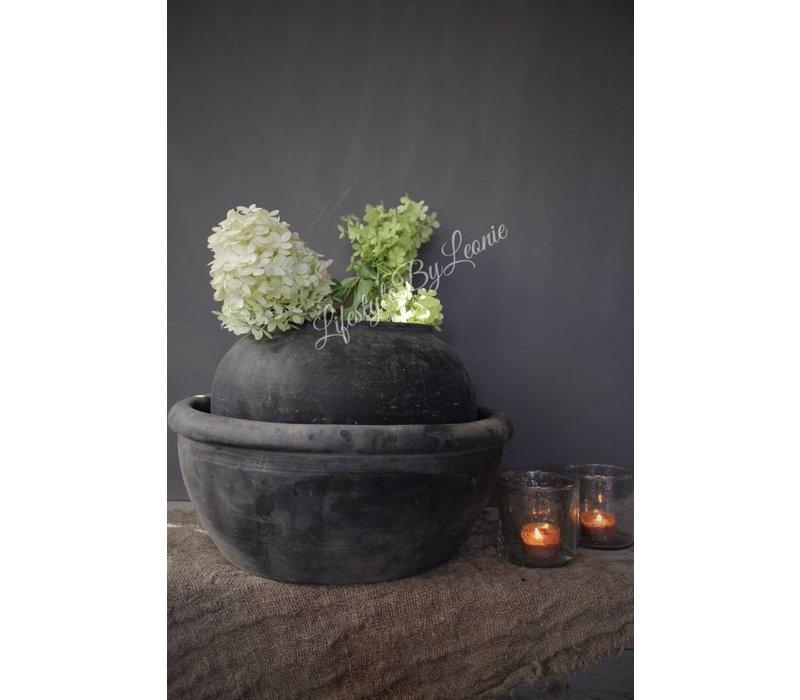 Authentieke Chinese stenen schaal en kruik grey