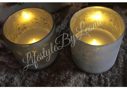 LifestyleByLeonie LED geurkaars in glazen pot Old silver Jasmin