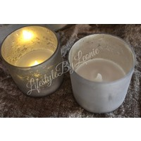 LED geurkaars in glazen pot Old silver Jasmin