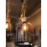 Hanglamp zwart draad / robuust touw - maat S