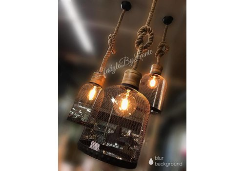 LifestyleByLeonie Hanglamp zwart draad / robuust touw - maat M