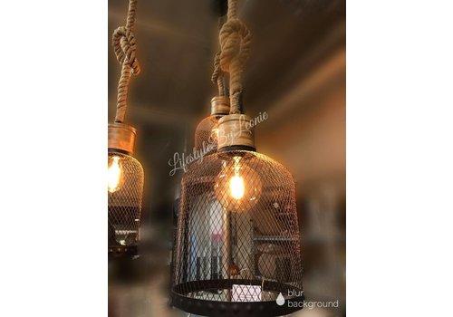 LifestyleByLeonie Hanglamp zwart draad / robuust touw - maat L