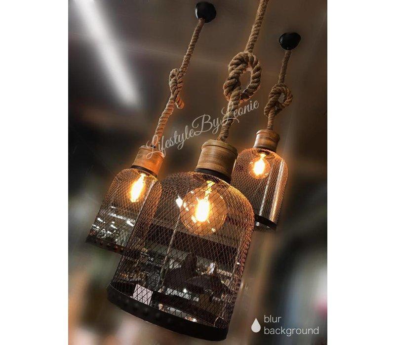 Hanglamp zwart draad / robuust touw - maat L