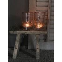 DUTZ cilinder windlicht met bubbels aubergine 14 cm