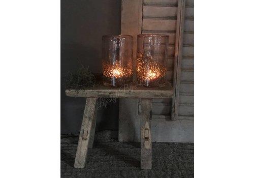 Dutz DUTZ cilinder windlicht met bubbels aubergine 14 cm