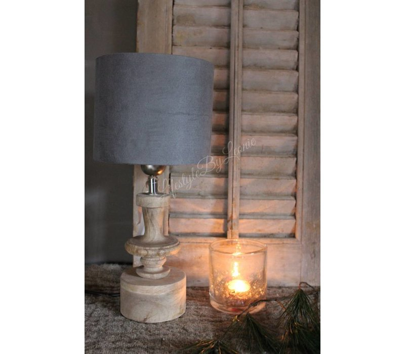 Cilinder lampenkap Suède grey 18 cm