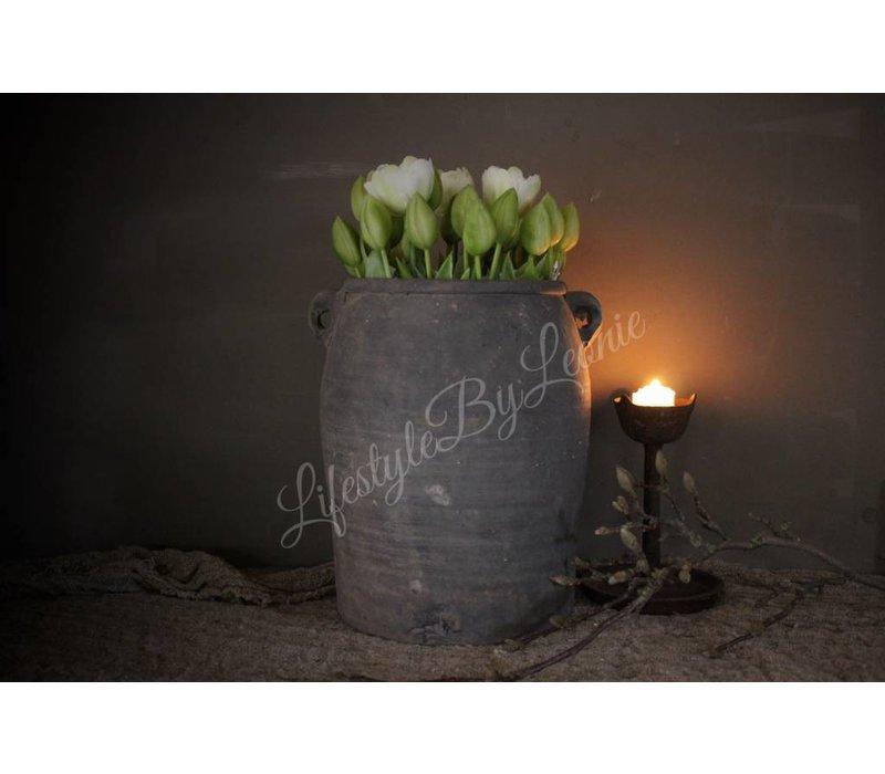Groenwitte kunst tulp half open 41 cm