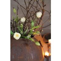 Groen witte kunst tulp half open 41 cm