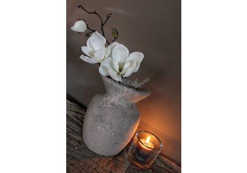 Zijden Magnoliatak white 48 cm
