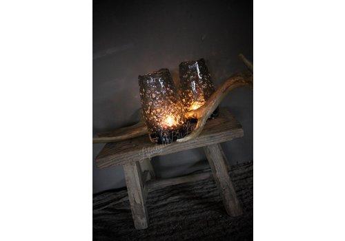 Dutz DUTZ windlicht vaas met bubbels grijs 15 cm
