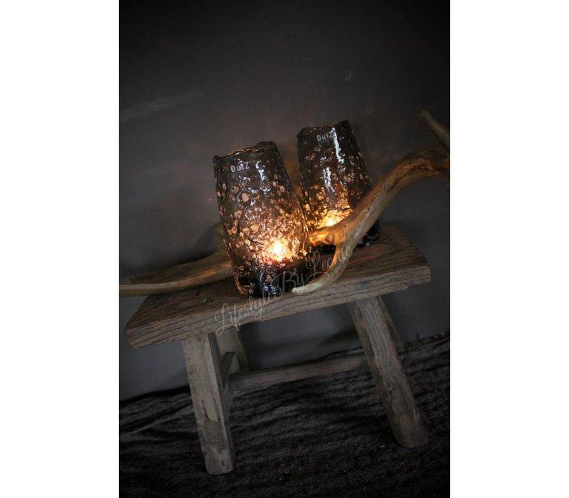 DUTZ windlicht vaas met bubbels grijs 15 cm