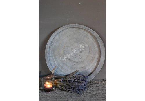 Rond houten dienblad / tray grijs |30cm