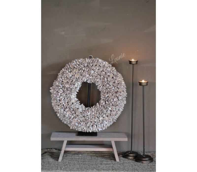 Houten vensterbank krukje Grey wash 38 cm