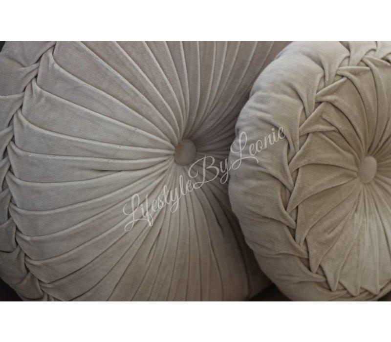 Rond velvet kussen Sand 40 cm