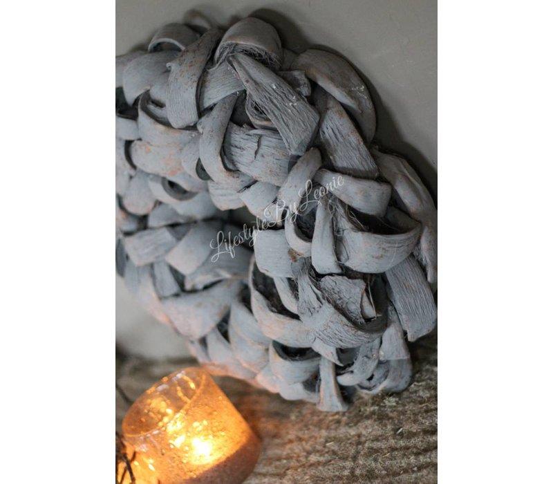 Krans Coco slice thick Grey 40 cm