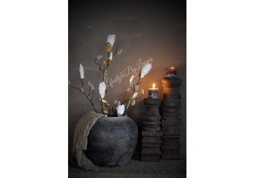LifestyleByLeonie Zijden magnolia tak 'White'  88cm