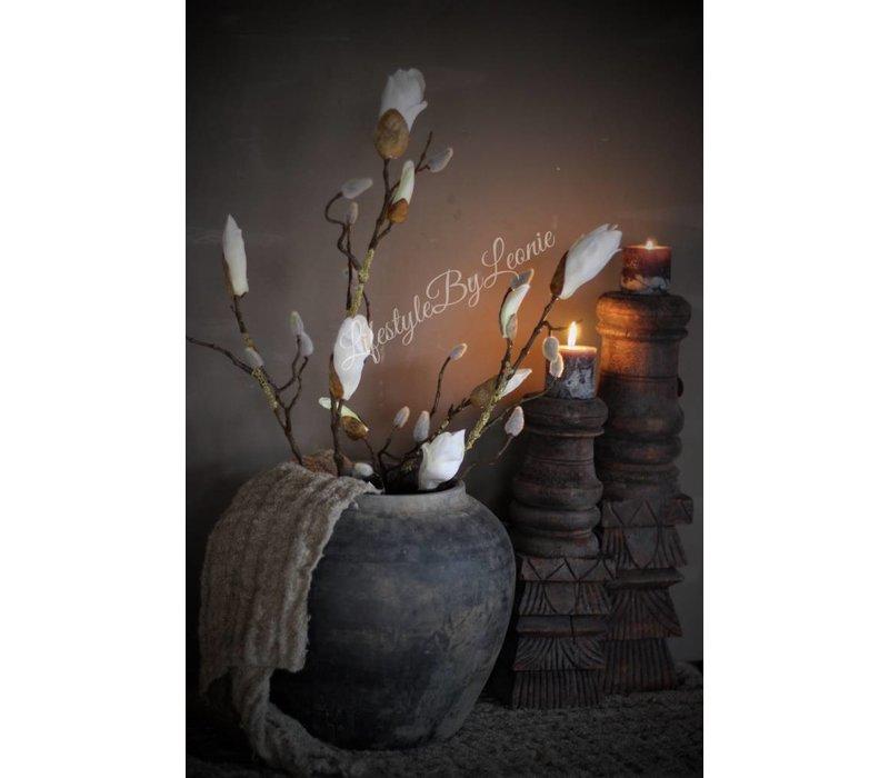 Zijden Magnoliatak white 88 cm