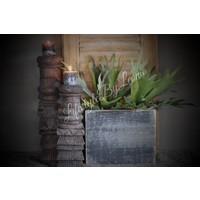 Zwart houten bloempot 26 cm