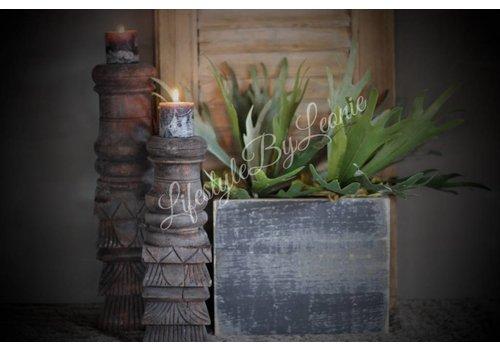 LifestyleByLeonie Zwart houten bloempot  26cm
