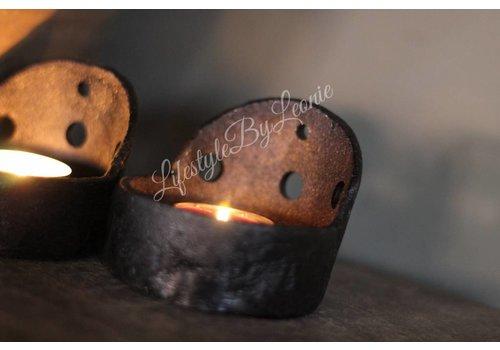 LifestyleByLeonie Smeedijzeren cup kandelaar Zwart 6,5 cm