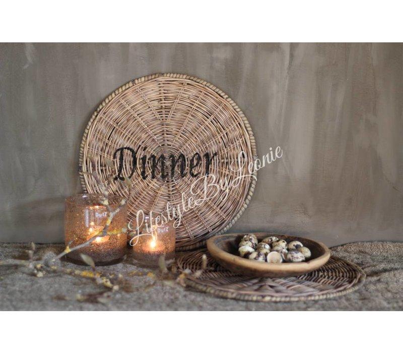 Rustic rattan ronde placemat Dinner