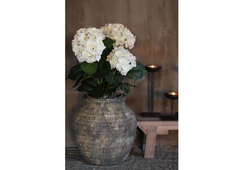 LifestyleByLeonie Zijden Hortensia in stenen pot White