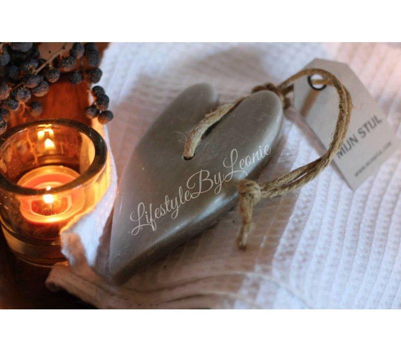 Mijn Stijl hart zeep lichtgrijs katoen - maat XL