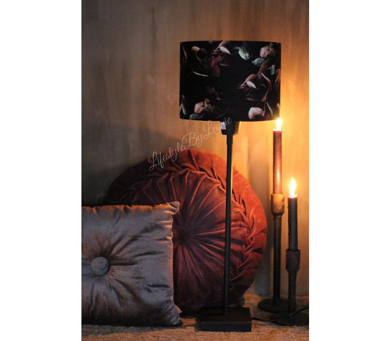 Cilinder lampenkap Black hortensia 20 cm