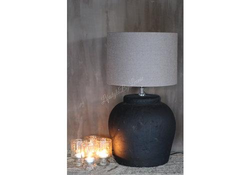 LifestyleByLeonie Zwart matte stenen kruik lampvoet 40 cm