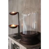 Glazen stolp op houten voet 26,5 cm