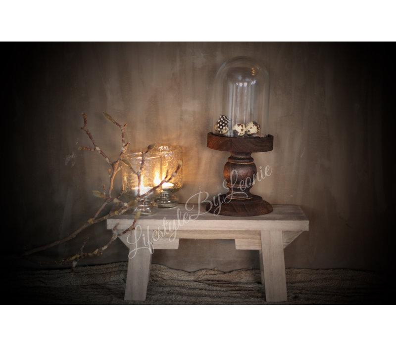 Glazen stolp op houten voet 28 cm