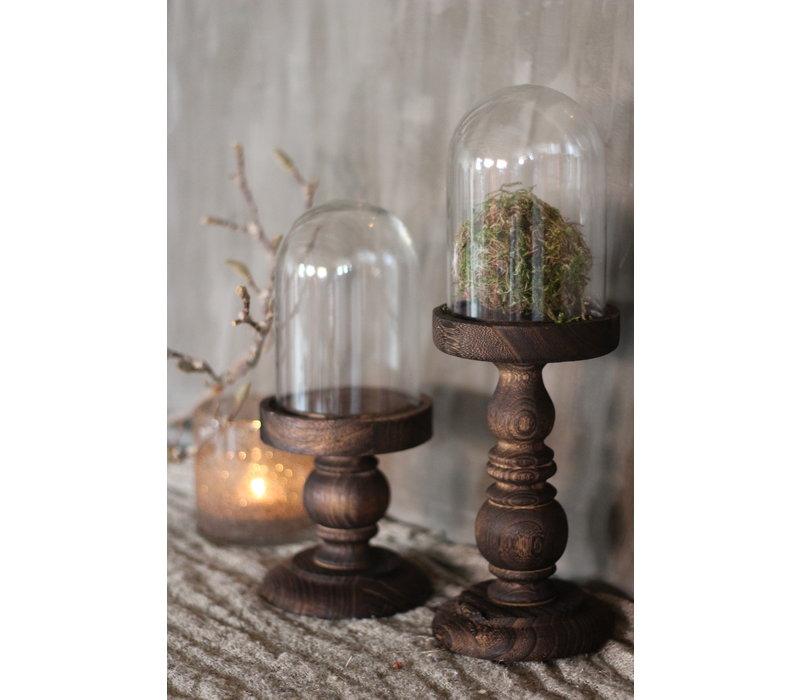 Glazen hoge stolp op houten voet 35,5 cm