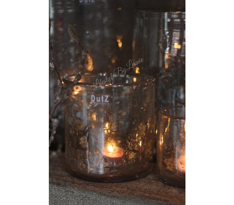 DUTZ cilinder windlicht met metall chips 14 cm